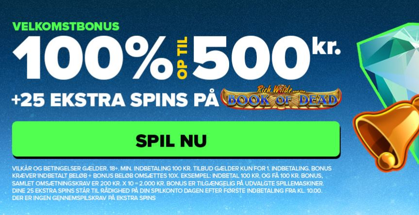 NextCasino -  25 spins på Book of Dead
